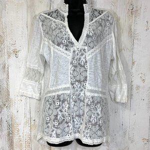 Indigo Thread Co. Top Crochet & Lace Mixed Knit L